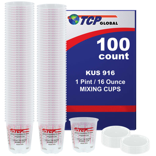 Box of 100 - Mix Cups - Pint size - 16 ounce Volume Paint and Epoxy Mixing Cups - Mix Cups Are Calibrated with Multiple Mixing Ratios - Includes 12 Bonus Lids