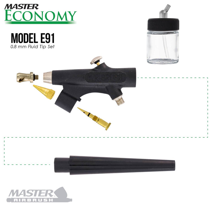 Master Economy E91 Single-Action External Mix Siphon Feed Airbrush Set with 0.8 mm Tip & 1/8 in. Air Inlet (Includes 6 ft. Braided Air Hose)
