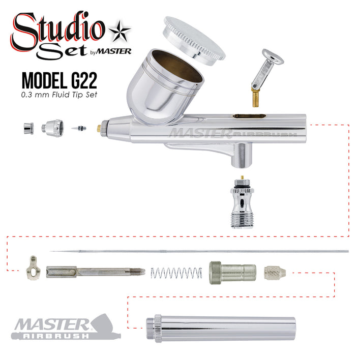 Master G64 Studio Airbrush Set with 6 Different Airbrush Models (2 Gravity Feed, 3 Siphon Feed, 1 Side Feed)