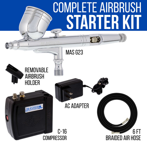 Master Performance G23 Airbrush Kit with Master Black Mini Portable Compressor C16-B & Air Hose