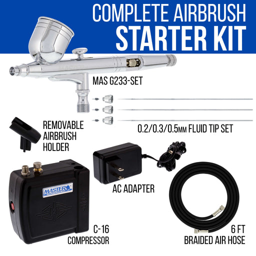 Master Performance G233 Airbrush Kit with Master Black Mini Portable Compressor C16-B & Air Hose