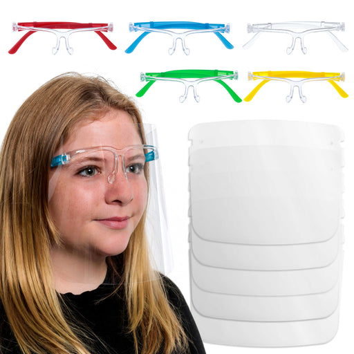 Salon World Safety Kids Face Shields with Glasses Frames (Pack of 5) - 5 Colors, 1 Each - Protective Children's Full Face Shields to Protect Eyes, Nose, Mouth - Anti-Fog PET Plastic Goggle