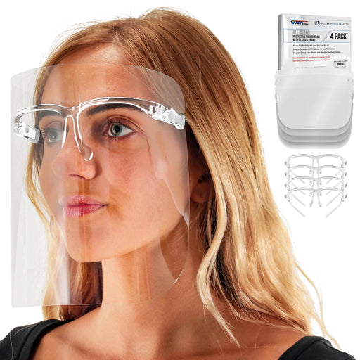 Safety Face Shields with All Clear Glasses Frames (Pack of 4) - Ultra Clear Protective Full Face Shields to Protect Eyes, Nose, Mouth - Anti-Fog PET Plastic, Goggles