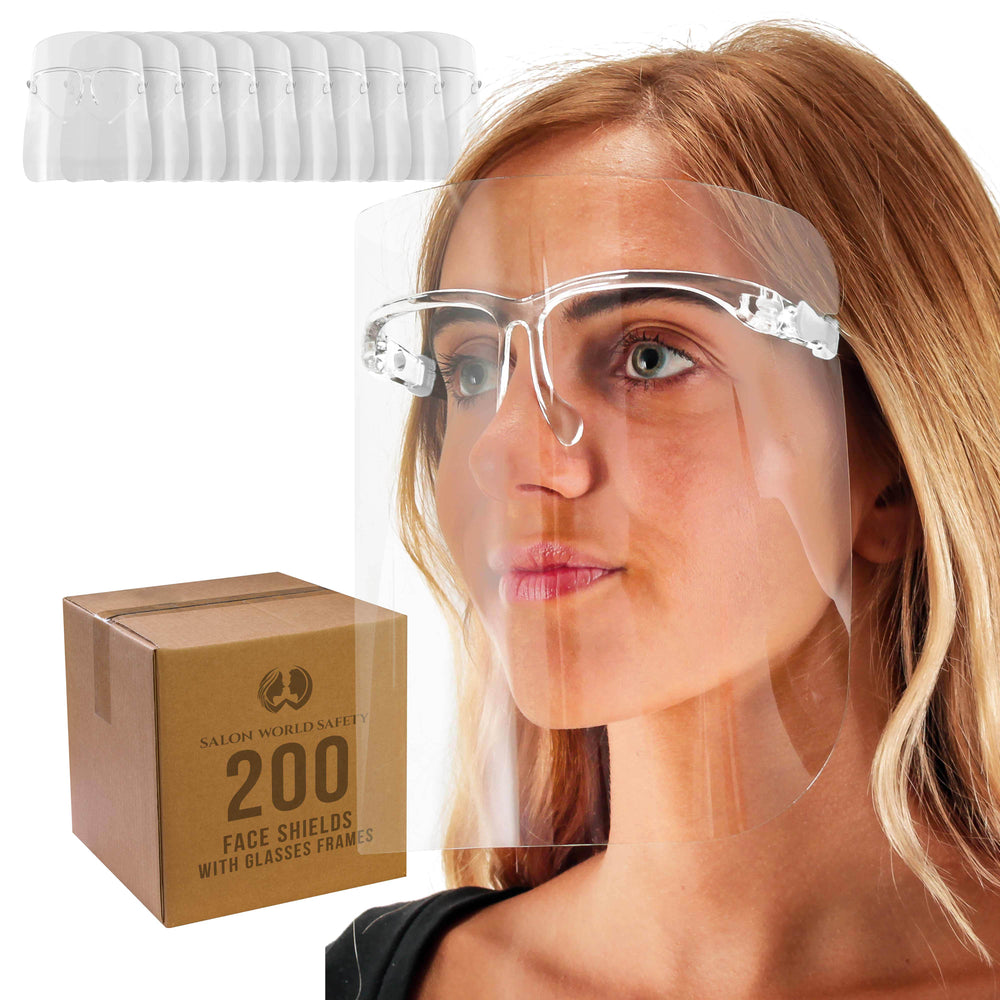 Salon World Safety Face Shields with All Clear Glasses Frames (20 Packs of 10) - Ultra Clear Protective Full Face Shields to Protect Eyes, Nose, Mouth - Anti-Fog PET Plastic, Goggles