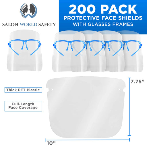 Salon World Safety Face Shields with Blue Glasses Frames (20 Packs of 10) - Ultra Clear Protective Full Face Shields to Protect Eyes, Nose, Mouth - Anti-Fog PET Plastic, Goggles