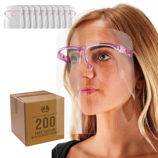 Salon World Safety Face Shields with Pink Glasses Frames (20 Packs of 10) - Ultra Clear Protective Full Face Shields to Protect Eyes, Nose, Mouth - Anti-Fog PET Plastic, Goggles