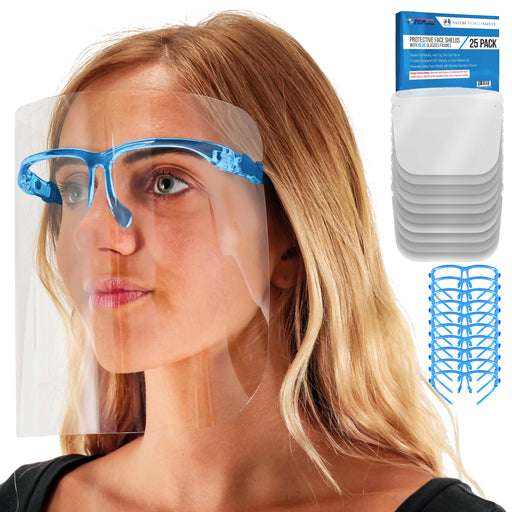 Safety Face Shields with Blue Glasses Frames (Pack of 25) - Ultra Clear Protective Full Face Shields to Protect Eyes, Nose, Mouth - Anti-Fog PET Plastic, Goggles