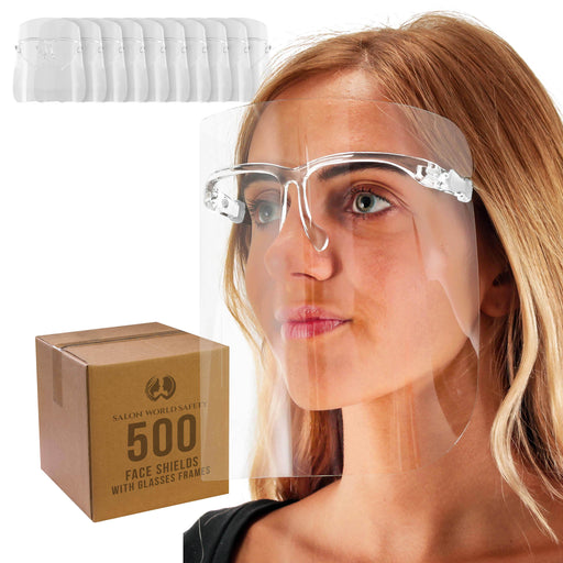 Salon World Safety Face Shields with All Clear Glasses Frames (20 Packs of 25) - Ultra Clear Protective Full Face Shields to Protect Eyes, Nose, Mouth - Anti-Fog PET Plastic, Goggles