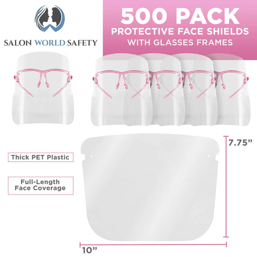 Salon World Safety Face Shields with Pink Glasses Frames (20 Packs of 25) - Ultra Clear Protective Full Face Shields to Protect Eyes, Nose, Mouth - Anti-Fog PET Plastic, Goggles