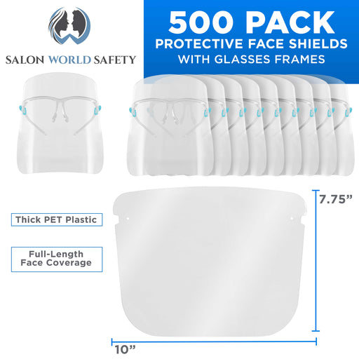500 Safety Face Shields with Glasses Frames (20 Packs of 25) - Ultra Clear Protective Full Face Shields to Protect Eyes, Nose, Mouth - Anti-Fog PET Plastic, Goggles, Sanitary Droplet Guard