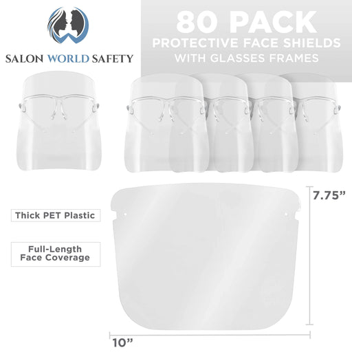 Salon World Safety Face Shields with All Clear Glasses Frames (20 Packs of 4) - Ultra Clear Protective Full Face Shields to Protect Eyes, Nose, Mouth - Anti-Fog PET Plastic, Goggles