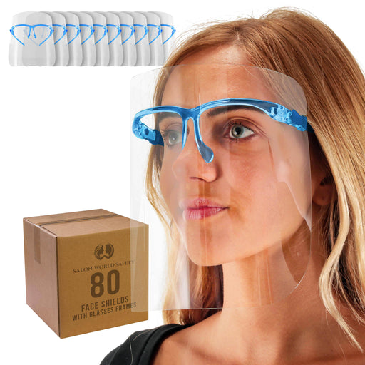 Salon World Safety Face Shields with Blue Glasses Frames (20 Packs of 4) - Ultra Clear Protective Full Face Shields to Protect Eyes, Nose, Mouth - Anti-Fog PET Plastic, Goggles