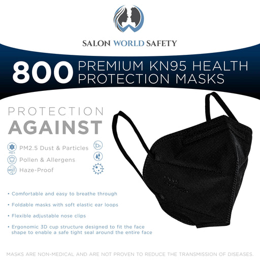 Black KN95 Protective Masks, Case of 800 - Filter Efficiency ≥95%, 5-Layers, Protection Against PM2.5 Dust, Pollen, Haze-Proof - Sanitary 5-Ply Non-Woven Fabric, Safe, Easy Breathing