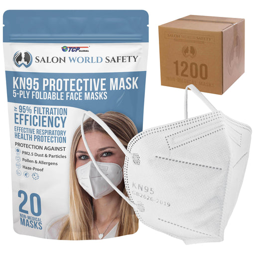 White KN95 Protective Masks, Case of 1200 - Filter Efficiency ≥95%, 5-Layers, Protection Against PM2.5 Dust, Pollen, Haze-Proof - Sanitary 5-Ply Non-Woven Fabric, Safe, Easy Breathing