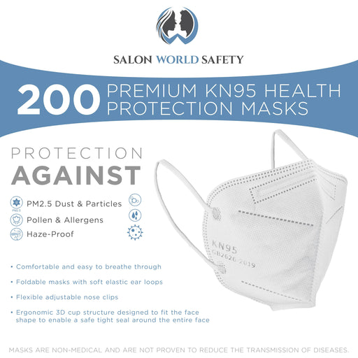 White KN95 Protective Masks, Pack of 200 - Filter Efficiency ≥95%, 5-Layers, Protection Against PM2.5 Dust, Pollen, Haze-Proof - Sanitary 5-Ply Non-Woven Fabric, Safe, Easy Breathing
