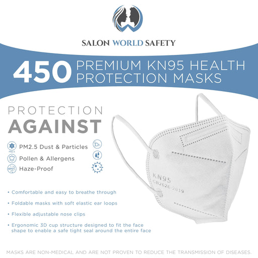 White KN95 Protective Masks, Case of 450 - Filter Efficiency ≥95%, 5-Layers, Protection Against PM2.5 Dust, Pollen, Haze-Proof - Sanitary 5-Ply Non-Woven Fabric, Safe, Easy Breathing