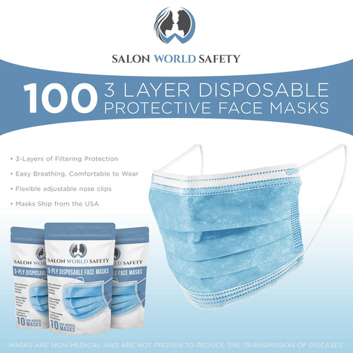 Bulk 10 Pouches (100 Masks) in Sealed Packages of 10 - 3 Layer Disposable Protective Face Masks with Adjustable Nose Clip and Ear Loops - Sanitary 3-Ply Non-Woven Fabric