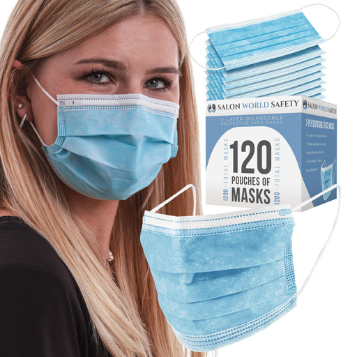 Bulk 120 Pouches (1200 Masks) in Sealed Packages of 10 - 3 Layer Disposable Protective Face Masks with Adjustable Nose Clip and Ear Loops - Sanitary 3-Ply Non-Woven Fabric