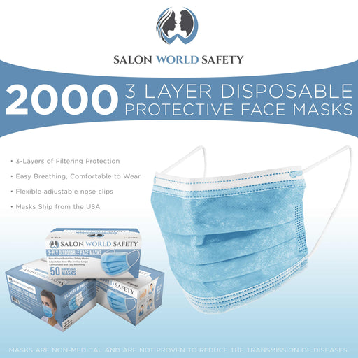 Bulk 40 Boxes (2000 Masks) in Sealed Dispenser Boxes of 50 - 3 Layer Disposable Protective Face Masks with Nose Clip & Ear Loops - Sanitary 3-Ply Non-Woven Fabric ? Particle