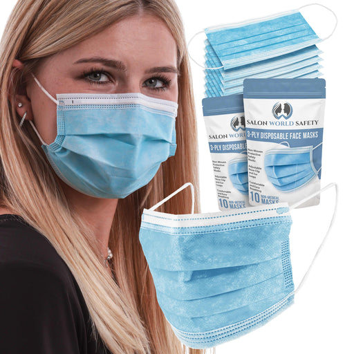 Bulk 2 Pouches (20 Masks) in Sealed Packages of 10 - 3 Layer Disposable Protective Face Masks with Adjustable Nose Clip and Ear Loops - Sanitary 3-Ply Non-Woven Fabric