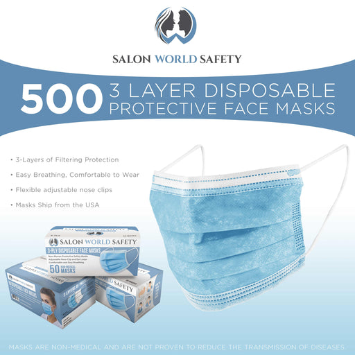 Bulk 10 Boxes (500 Masks) in Sealed Dispenser Boxes of 50 - 3 Layer Disposable Protective Face Masks with Nose Clip & Ear Loops - Sanitary 3-Ply Non-Woven Fabric  Particle