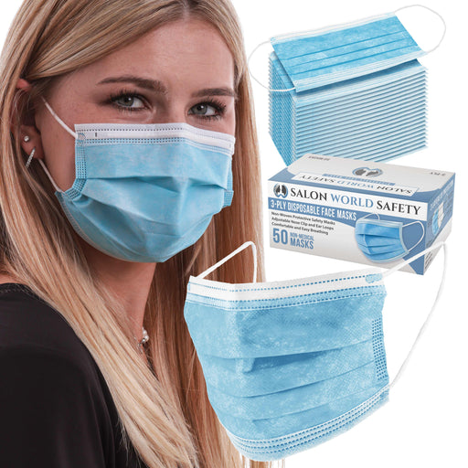 Sealed Dispenser Box of 50 - 3 Layer Disposable Protective Face Masks with Nose Clip and Ear Loops - Sanitary 3-Ply Non-Woven Fabric - Safe, Comfortable, Easy Breathing