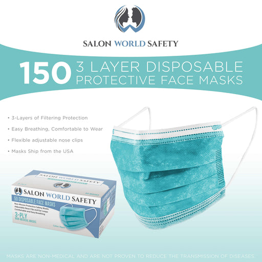 Salon World Safety Aqua Masks - Bulk 3 Boxes (150 Masks) in Sealed Dispenser Boxes of 50 - 3 Layer Disposable Protective Face Masks with Nose Clip & Ear Loops - 3-Ply Non-Woven Fabric, Safe