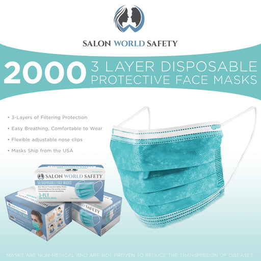 Salon World Safety Aqua Masks - Bulk 40 Boxes (2000 Masks) in Sealed Dispenser Boxes of 50 - 3 Layer Disposable Protective Face Masks with Nose Clip & Ear Loops, Safe 3-Ply Non-Woven Fabric