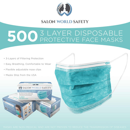 Salon World Safety Aqua Masks - Bulk 10 Boxes (500 Masks) in Sealed Dispenser Boxes of 50 - 3 Layer Disposable Protective Face Masks with Nose Clip & Ear Loops - Safe 3-Ply Non-Woven Fabric