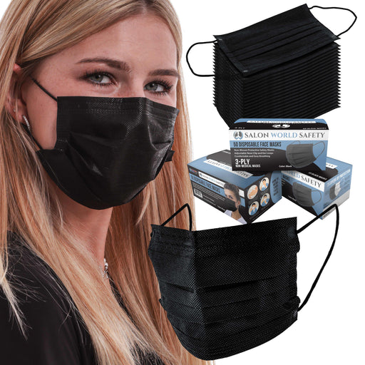 Salon World Safety Black Masks - Bulk 3 Boxes (150 Masks) in Sealed Dispenser Boxes of 50 - 3 Layer Disposable Protective Face Masks with Nose Clip & Ear Loops - Safe 3-Ply Non-Woven Fabric