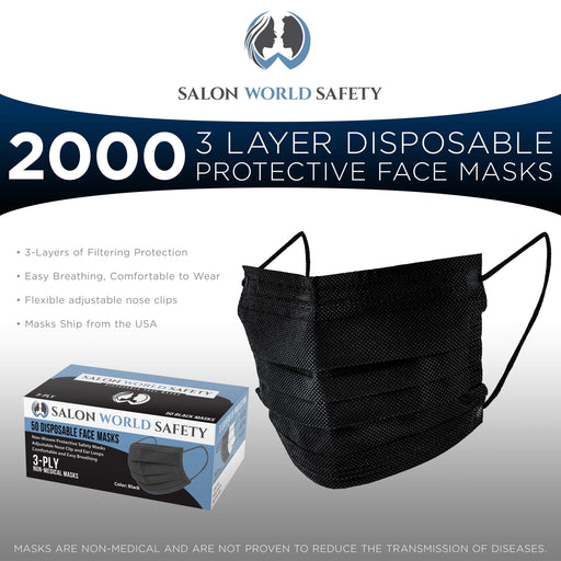 Salon World Safety Black Masks - Bulk 40 Boxes (2000 Masks) in Sealed Dispenser Boxes of 50 - 3 Layer Disposable Protective Face Masks with Nose Clip & Ear Loops - 3-Ply Non-Woven Fabric