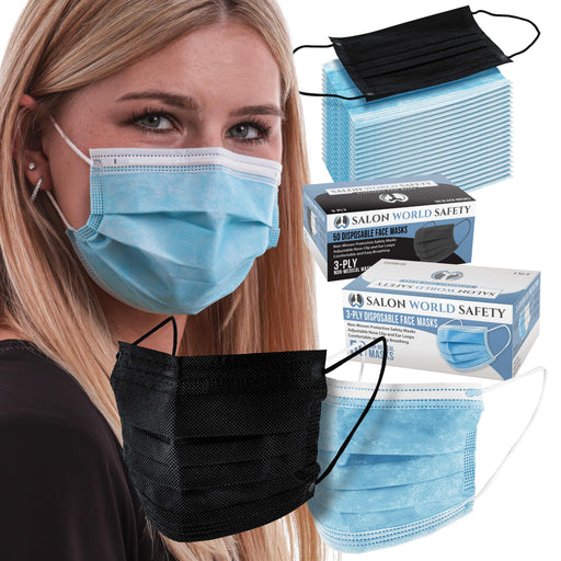 Black and Blue Colored Face Masks Variety Pack (50ea Color = 100 Masks) Breathable Disposable 3-Ply Protective PPE with Nose Clip and Ear Loops