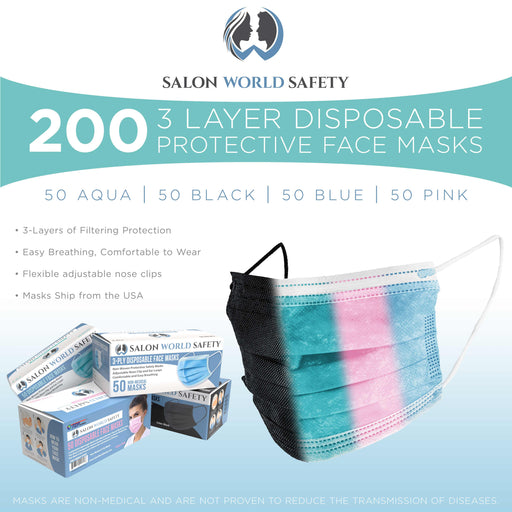 Salon World Safety 4 Color Variety Mask Pack - 50 Pack Box of Each Color: Black, Blue, Aqua and Pink Masks (200 Masks) - 3 Layer Disposable Protective Face Masks with Nose Clip & Ear Loops