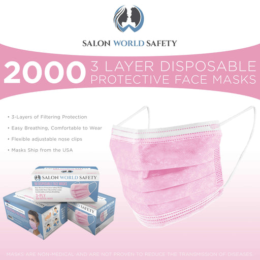 Salon World Safety Pink Masks - Bulk 40 Boxes (2000 Masks) in Sealed Dispenser Boxes of 50 - 3 Layer Disposable Protective Face Masks with Nose Clip & Ear Loops, Safe 3-Ply Non-Woven Fabric