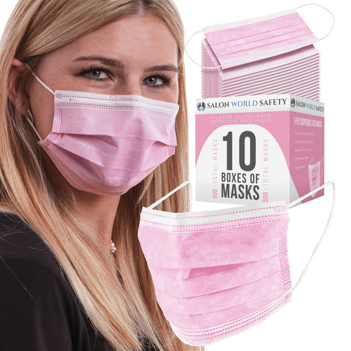 Salon World Safety Pink Masks - Bulk 10 Boxes (500 Masks) in Sealed Dispenser Boxes of 50 - 3 Layer Disposable Protective Face Masks with Nose Clip & Ear Loops - Safe 3-Ply Non-Woven Fabric