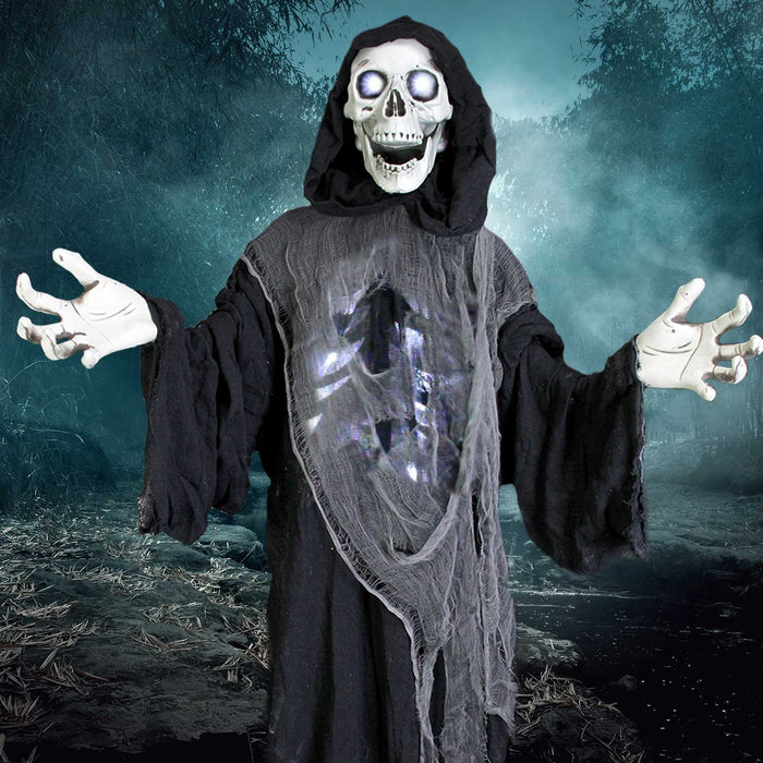 5' Animated Standing Life Size Strobe Skull Reaper Prop Decoration