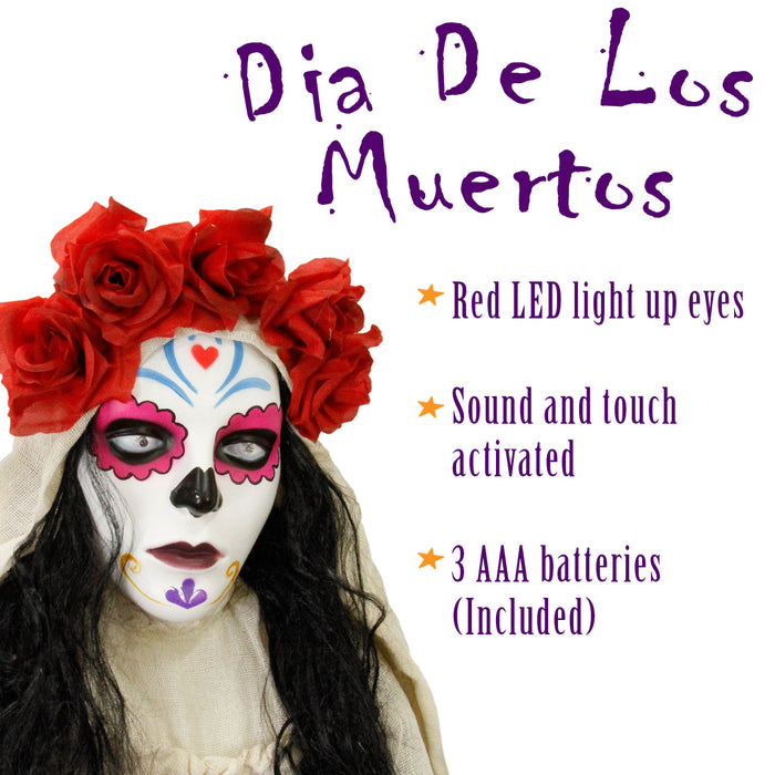 Halloween Haunters 5 foot Animated Standing Scary Day Of The Dead Catrina Lady Girl Prop Decoration