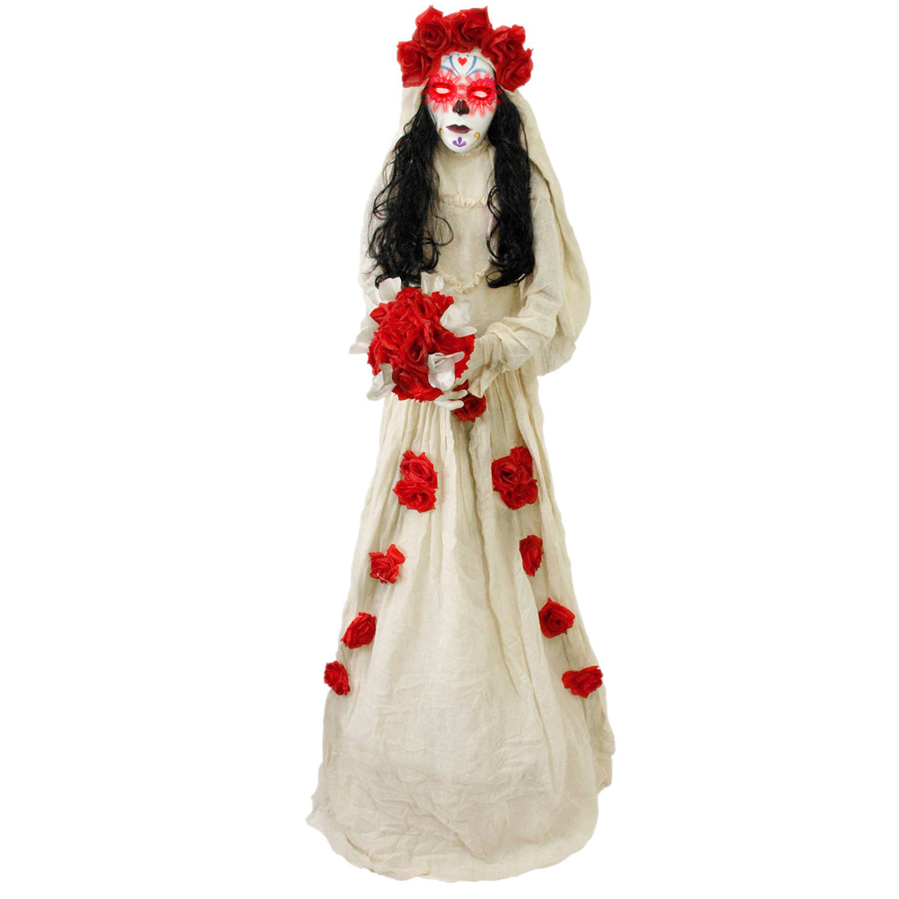 5 foot Animated Standing Scary Day Of The Dead Catrina Lady Girl Prop Decoration
