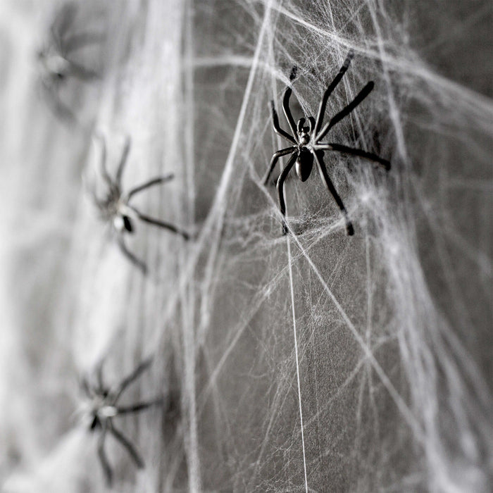 Halloween Haunters Super Stretch Spider Web Cobweb with 6 Black Spiders Prop Decoration - 100 Grams of Spooky Realistic Webbing Covers 400 Square Feet - Use in Yard, Entryway, Haunted House Graveyard