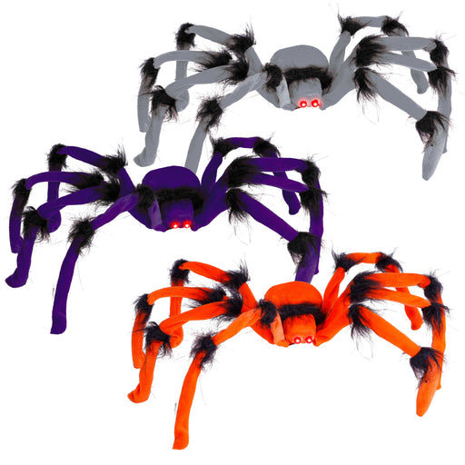 Halloween Haunters Set of 3 Large 2 Foot Realistic Scary Purple, Orange and Gray Spiders with Red Flashing Eyes Prop Decoration - Creepy Crawly Fury Legs - Place in Web, Tree, Haunted House, Entryway