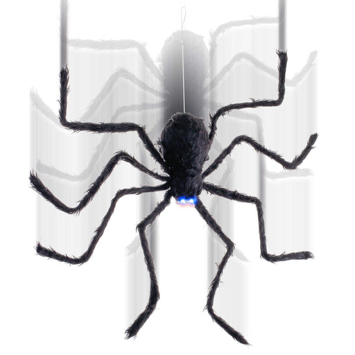 "Hanging 32"" Oversized Scary Black Fury Spider, Spins Web Crawls Up and Down, Blue LED Eyes Flash Prop Decoration - Speaks Spooky Howls, Floats - Haunted House Entryway Party Display"