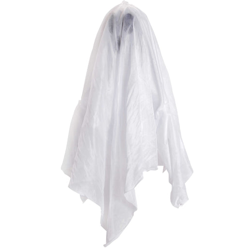 "Animated Hanging 24"" White Ghost that Floats Up and Down Prop Decoration - Blue LED Flashing Eyes, Speaks Eerie Howls Spooky Laughs"