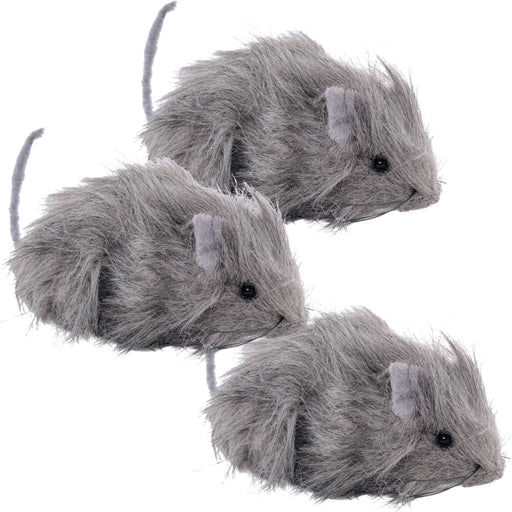 "Halloween Haunters 3 Scary Realistic Grey Hairy 10"" Rats Prop Decorations - Gray Fury Creepy Spooky Beady Black Eye Rodents - Haunted House, Graveyard"