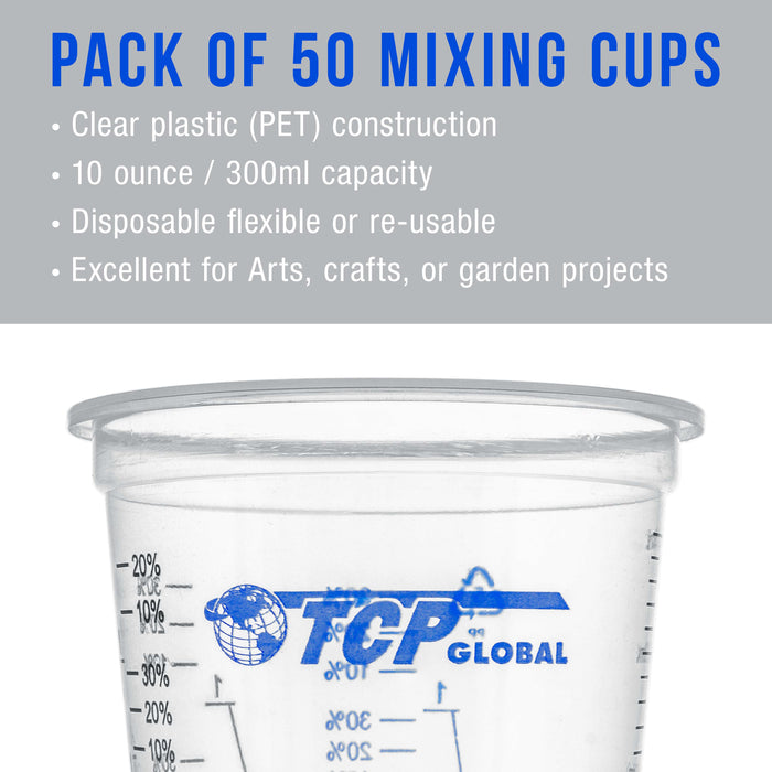 TCP Global 10 Ounce (300ml) Disposable Flexible Clear Graduated Plastic Mixing Cups - Box of 50 Cups & 50 Mixing Sticks - Use for Paint, Resin, Epoxy
