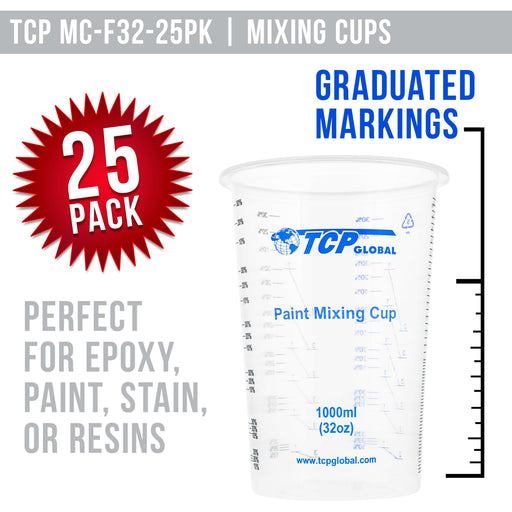 TCP Global 32 Ounce (1000ml) Disposable Flexible Clear Graduated Plastic Mixing Cups - Box of 25 Cups - Use for Paint, Resin, Epoxy, Art, Kitchen