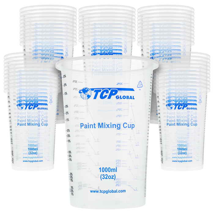 TCP Global 32 Ounce (1000ml) Disposable Flexible Clear Graduated Plastic Mixing Cups - Box of 50 Cups - Use for Paint, Resin, Epoxy, Art, Kitchen