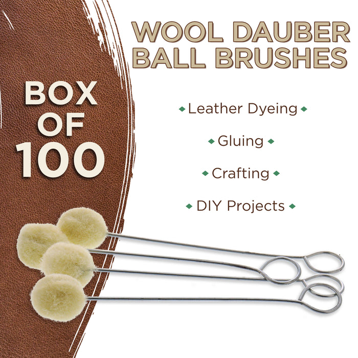 U.S. Art Supply - Wool Daubers Ball Brush (Pack of 100) - Applicator Tool for Leather Dye, Dying, Staining, Crafting, DIY Crafts Projects, Gluing