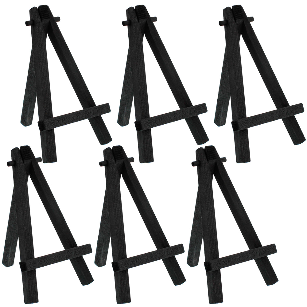 "8"" High Small Black Wood Display Easel (Pack of 6), A-Frame Artist Painting Party Tripod Mini Easel - Tabletop Holder Stand for Canvases, Kids School Crafts, Event Signs, Photos, Gifts"