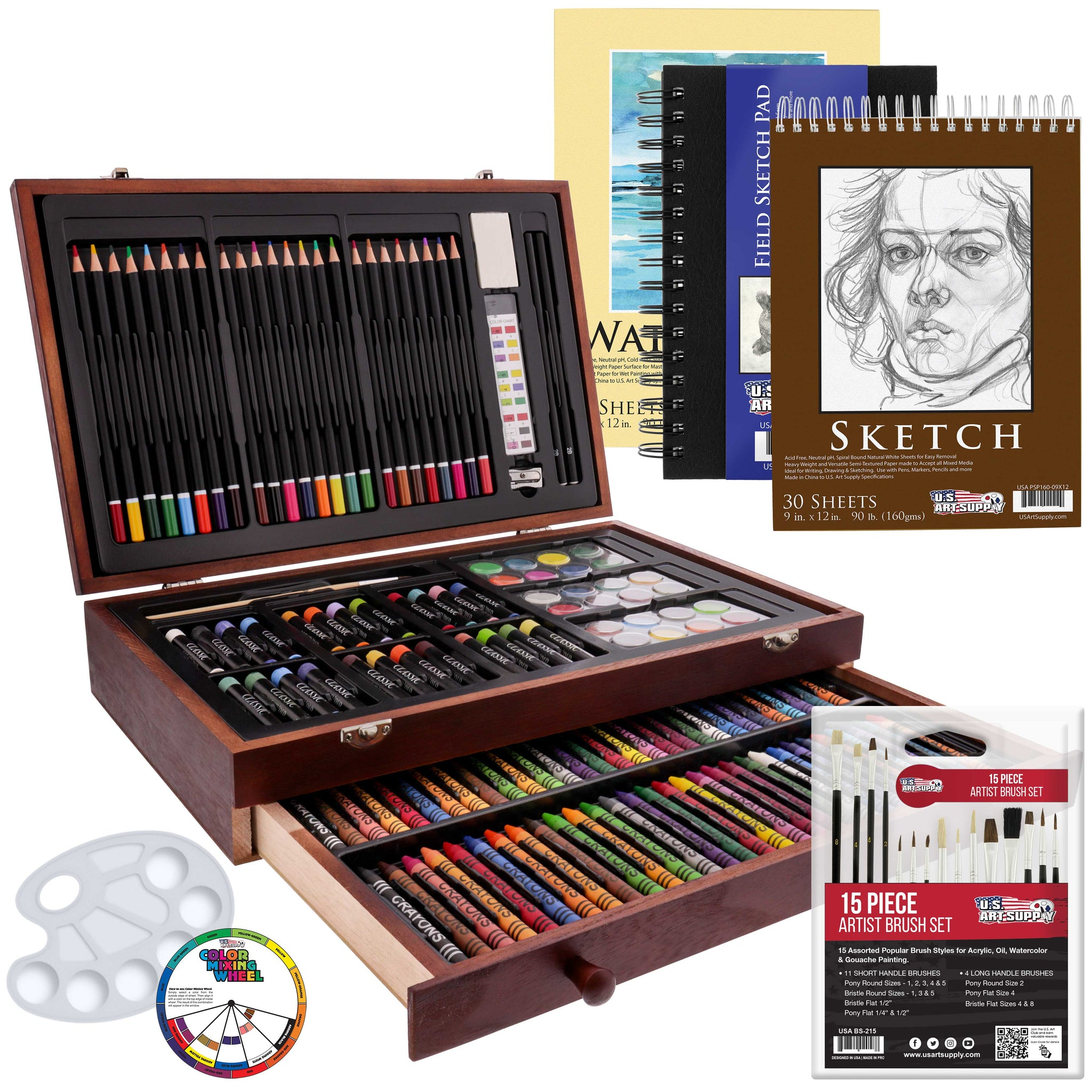 162 Piece-Deluxe Mega Wood Box Art, Painting & Drawing Set that contains all the additional supplies you need to get started