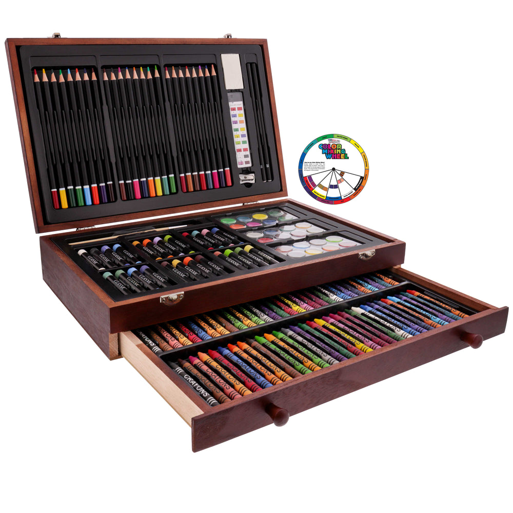 143 Piece-Mega Wood Box Art, Painting & Drawing Set, Now contains a Bonus Color Mixing Wheel